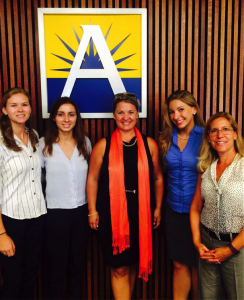 Angela Rose, second from right, with sexual assault survivors and SafeBAE spokeswomen